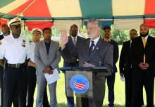 Mayor Frank G. Jackson addresses the media during streetlight press conference